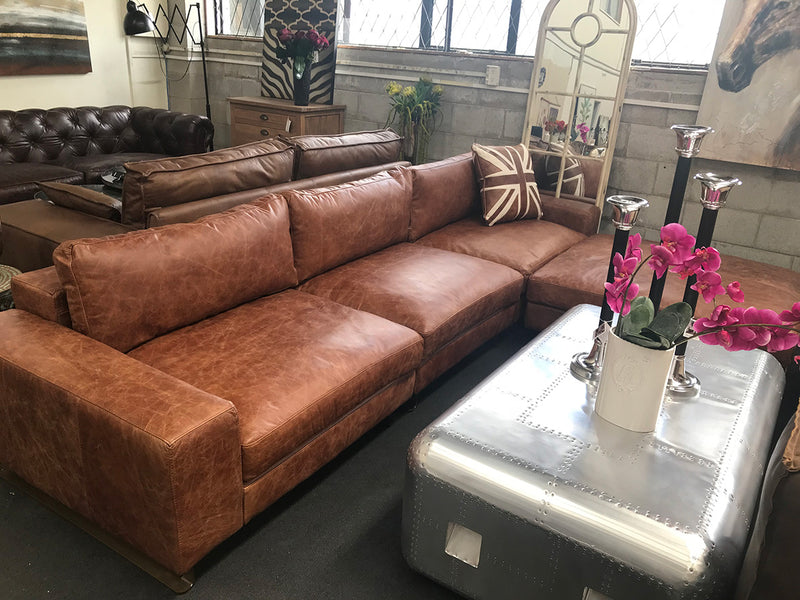 Sectional Collection --- Full Grain Leather Coco Color