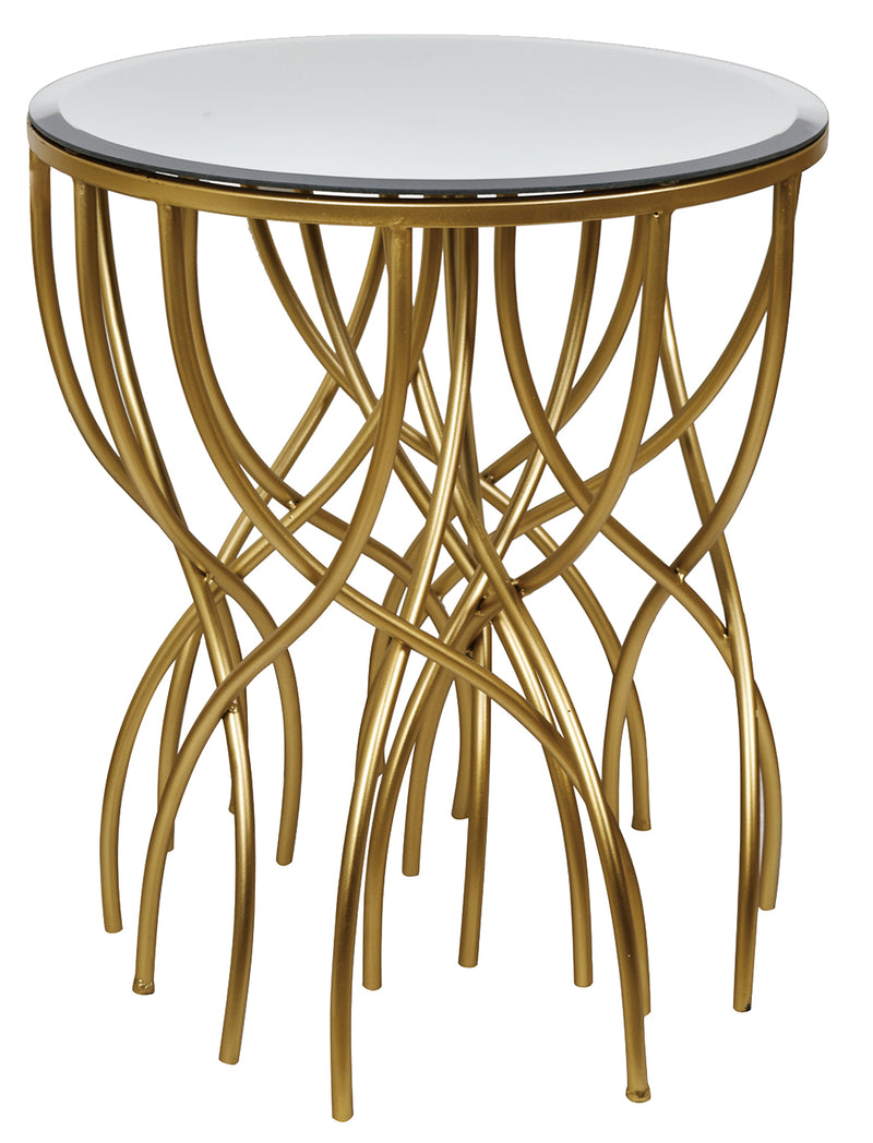 Melrose Gold Squiggly leg Beveled Metal & Mirror Side Table