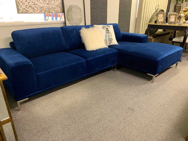 Colombo L Shape Sofa in Navy velvet