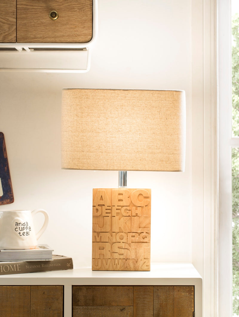 Rubber Wood Letter Table Lamp