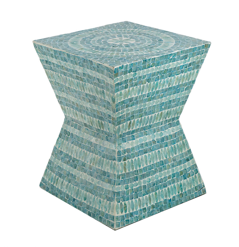 41# Stool Inlaid Blue Capiz Shell
