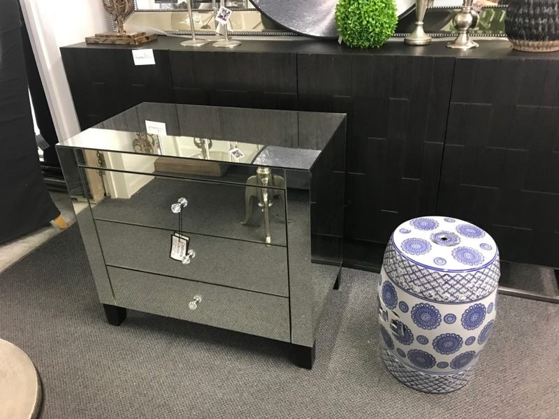 Large Mirrored 3 Drawers Bedside