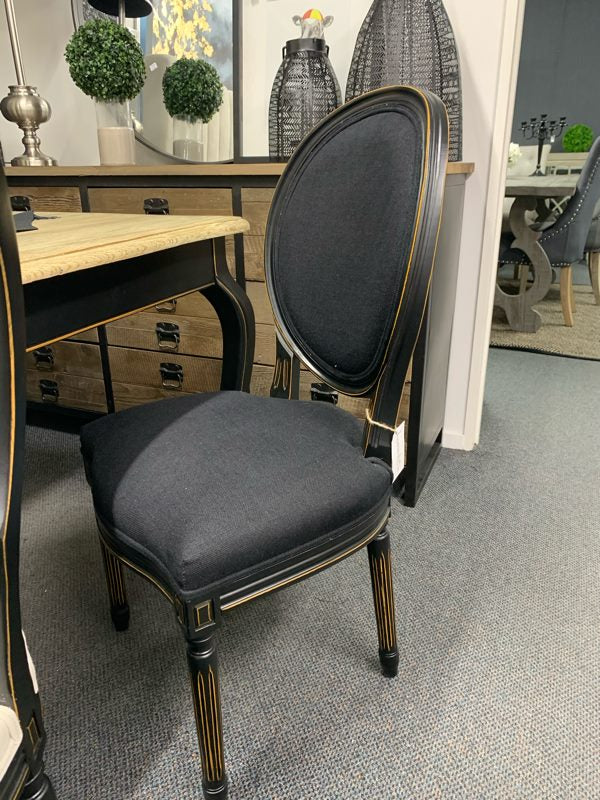 Louis XVI Linen Oval back / black linen Dining Chair