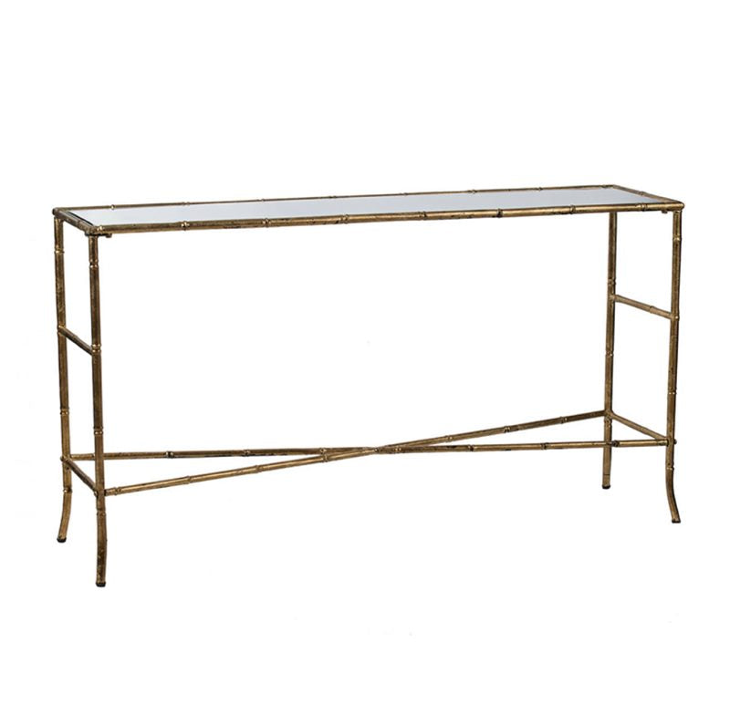 Mirror Top Antique Gold Console table