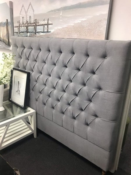 Buttoned King Headboard Grey linen with Oak feet