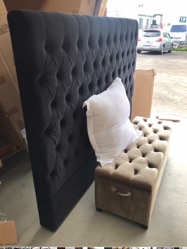 Buttoned California King 150H Black velvet Headboard