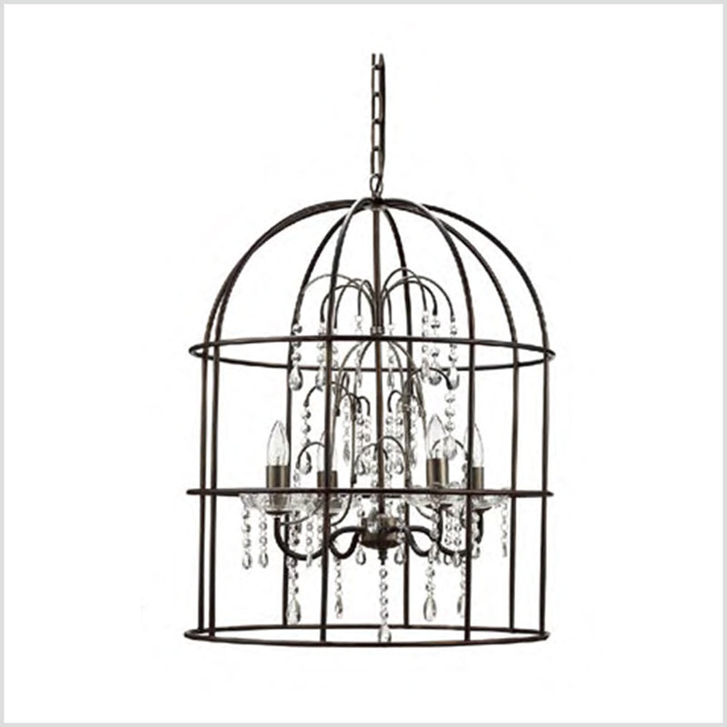 Metal Birdcage Chandelier with Glass Drop