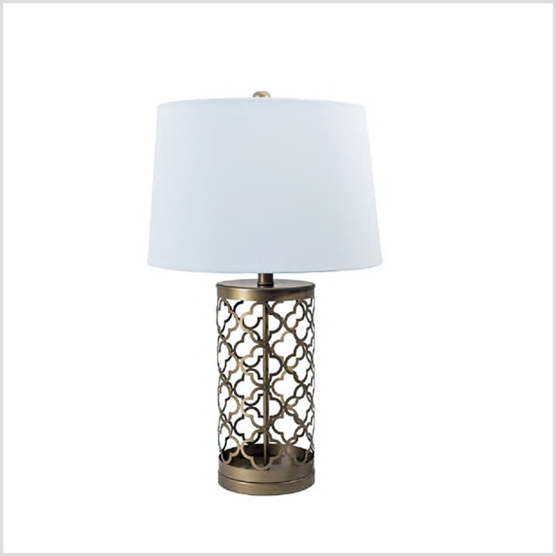 Metal Bedside Lamp with Linen Shade, Gold
