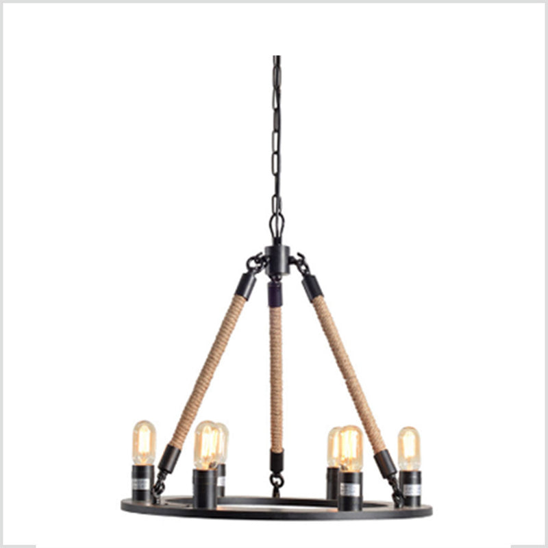 Modern Iron Chandelier with Jute Cord