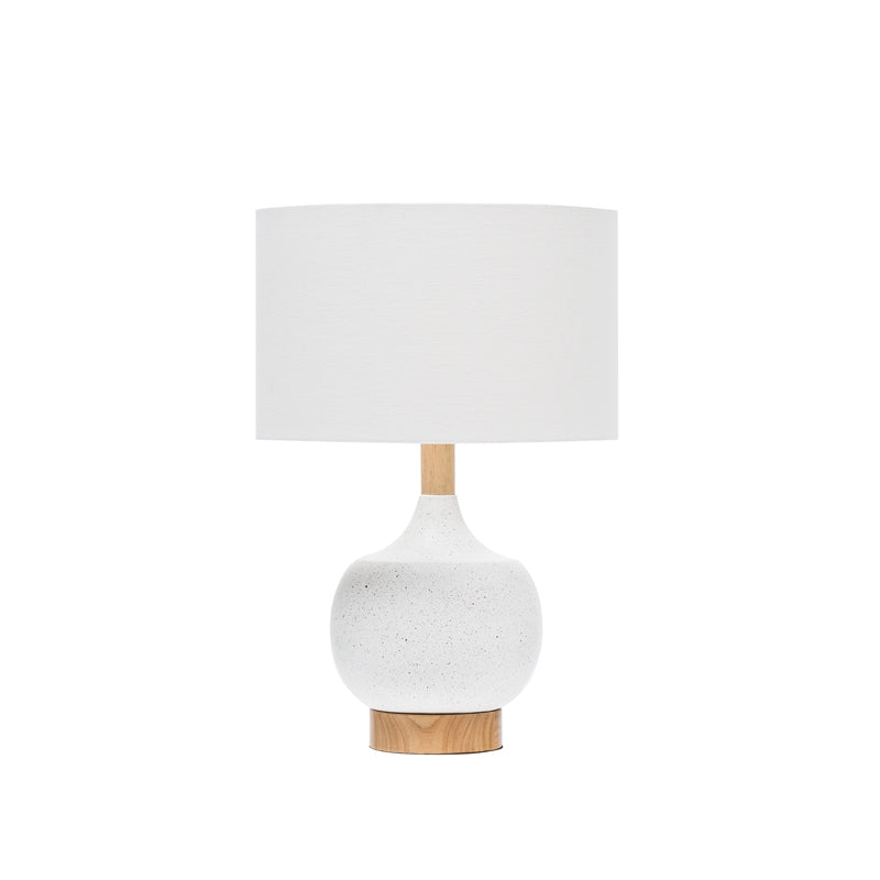 Resin & Wood Table Lamp, White