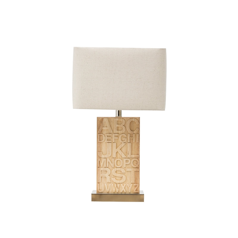 Rubber Wood Letter Table Lamp w/ Metal Base