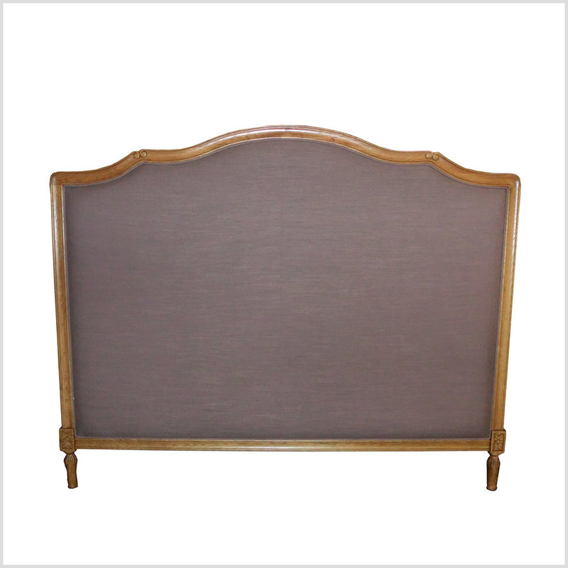 Linen Button Europen King Size (NZ Super King) Headboard in Oak Wood frame