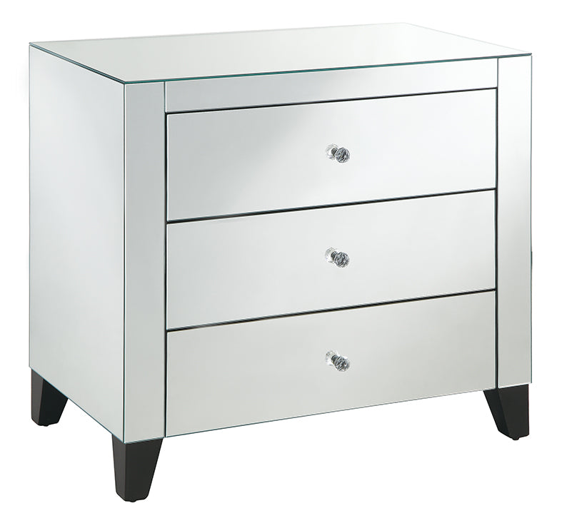 Bentley 3 Drawer Mirrored over size Bedside table