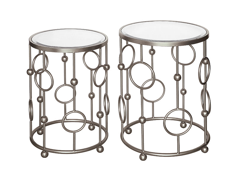 Halcyon Brushed Metalic Silver Circles And Mirror Accent Tables