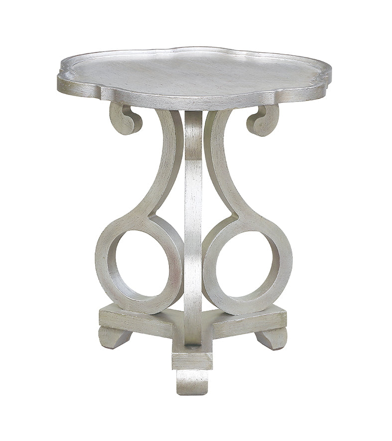 Adrinan Brushed Silver Scalloped Side Table