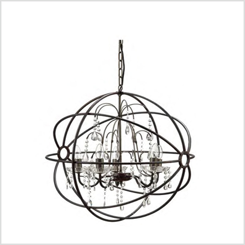 Metal Frame Chandelier with Glass Crystals