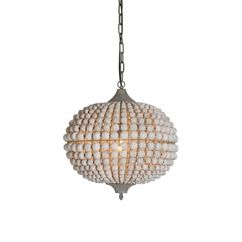 Metal & Wood Beads Chandelier, White Wash
