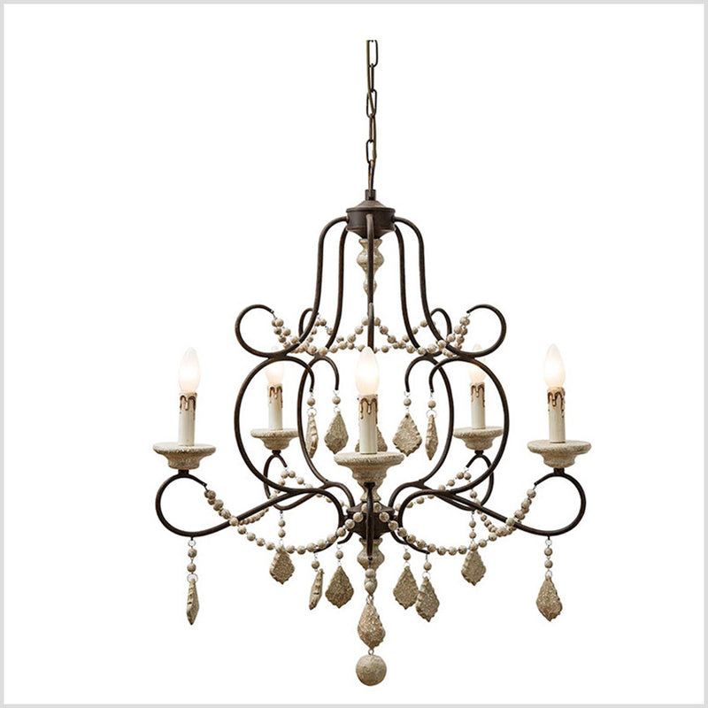 Iron & Wood Beads Chandelier