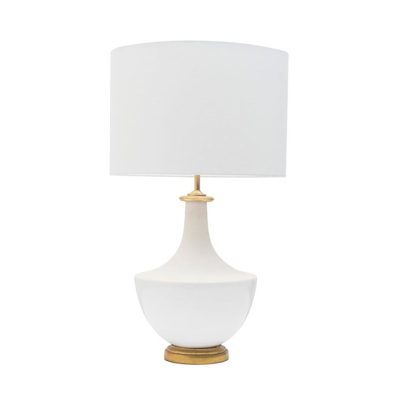 Ceramic Table Lamp w/ Linen Shade, Cream