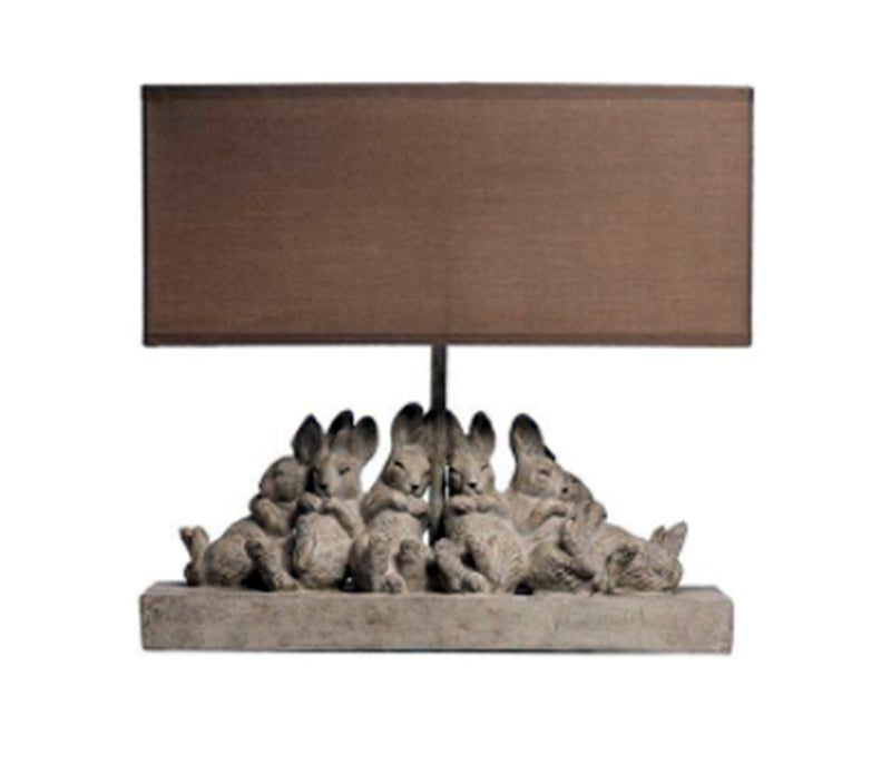 Resin Table Lamp with Rabbits & Linen Shade, Sand Color