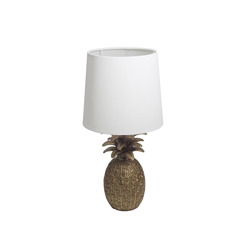 Resin Pineapple Shaped Table Lamp w/ Linen Shade, Distressed Gold Finish