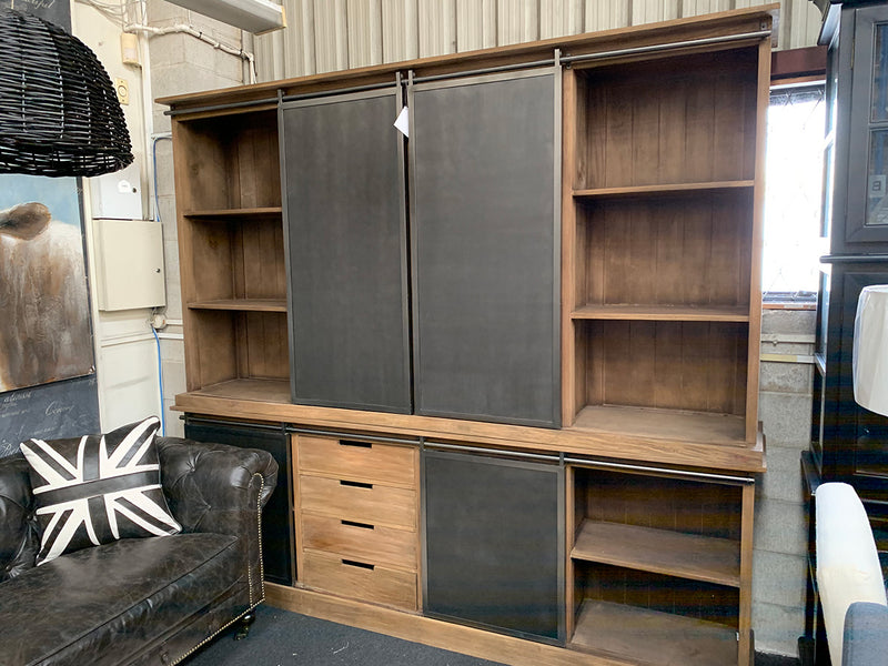 Industrial Loft Wood Metal Bookcase Cabinet