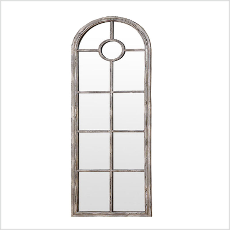 Distressed White Metal Framed Wall Mirror