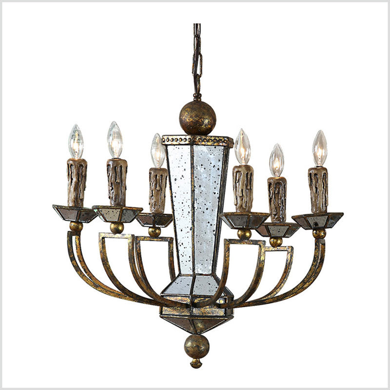 Antique Glass Mirrored Chandelier