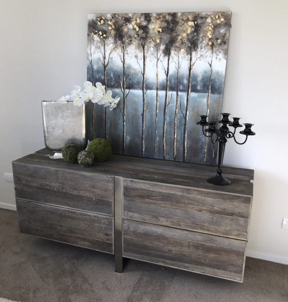 Stainless steel /Elm Buffet Cabinet