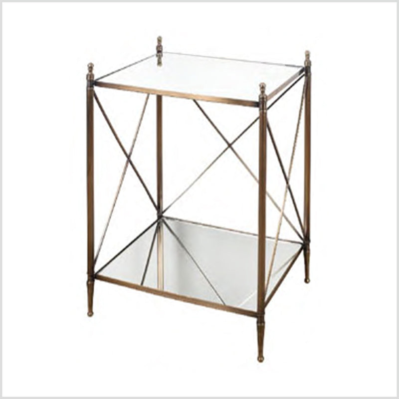 Metal & Mirror Cross Bar Side Table