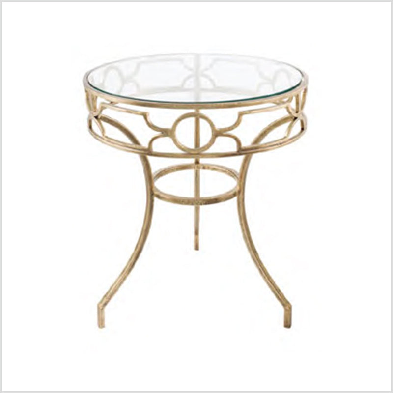 Sofia Antique Brass Metal & Glass Side Table