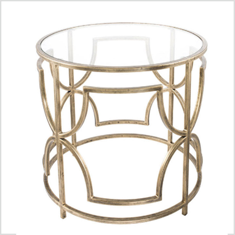 Sofia Antique Brass Metal U0026 Glass Side Table
