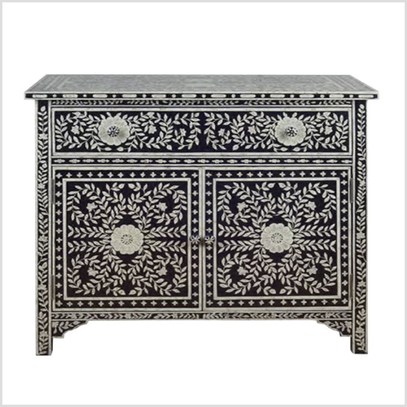 Hand-Painted Bone Inlay Pattern Adwita Cabinet