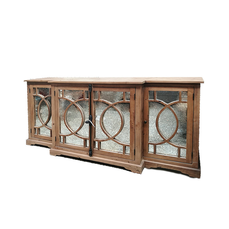Buffet Sideboard Cabinet with Distressed Glass Paneled Door