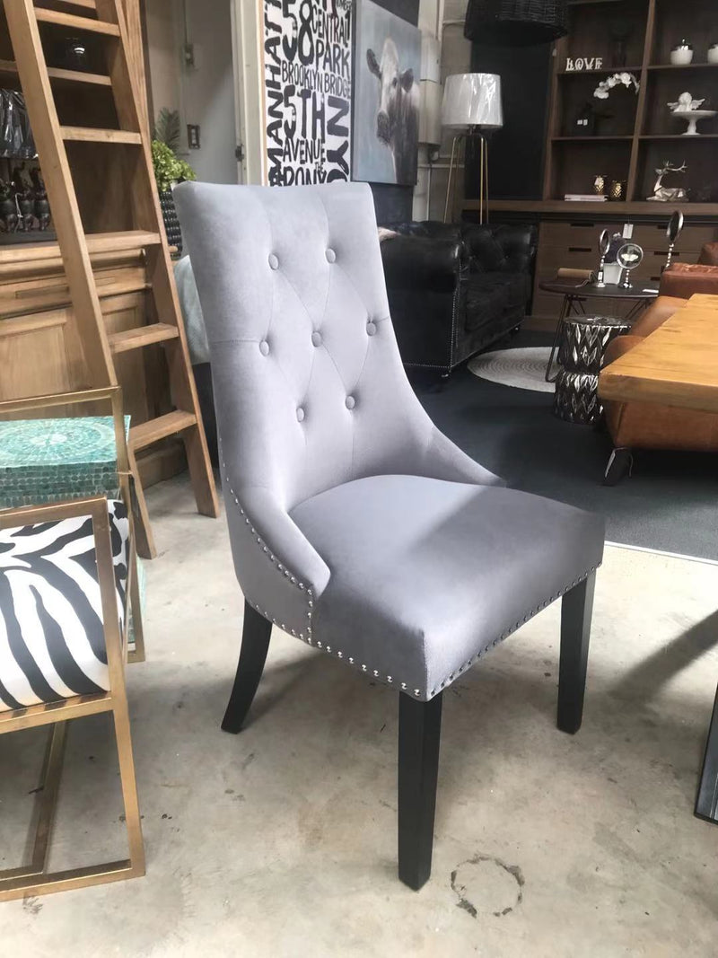 Modern Classic Tufted Dining Chair Grey velvet