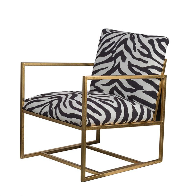 Zebra Print Fabric Armed chair