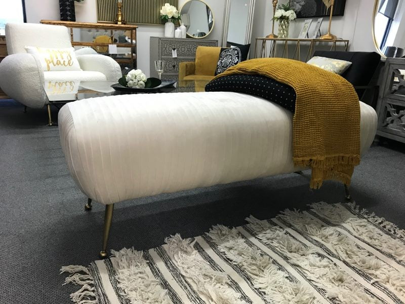 Ivory Velvet Bench/Brushed Gold Legs
