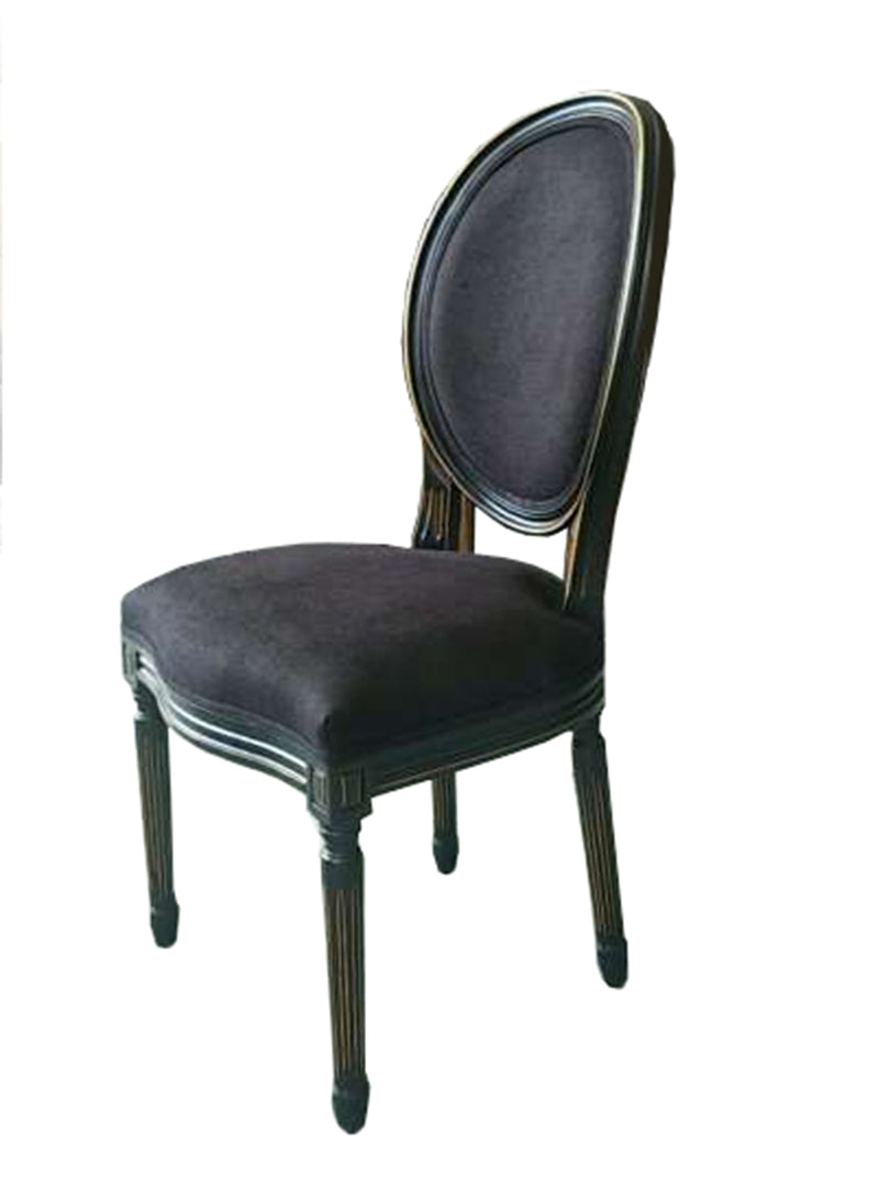 French Country Oval Aubergine Black Velvet Dining Chair