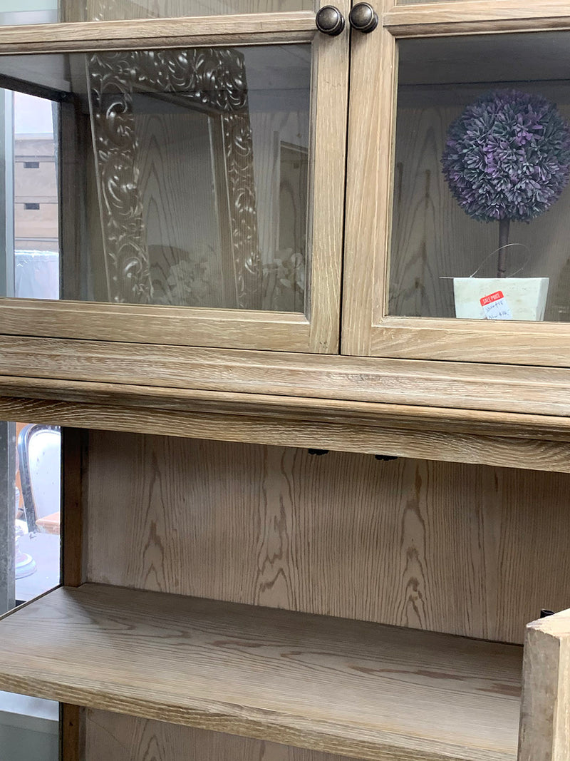 Oak Wood and Glass Display Cabinet