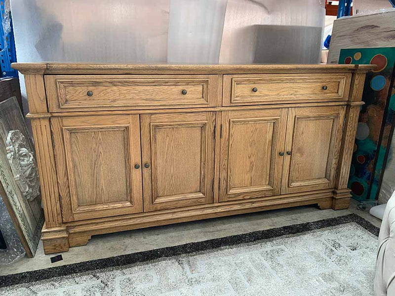 French Country Style Oak Wood Buffet Sideboard