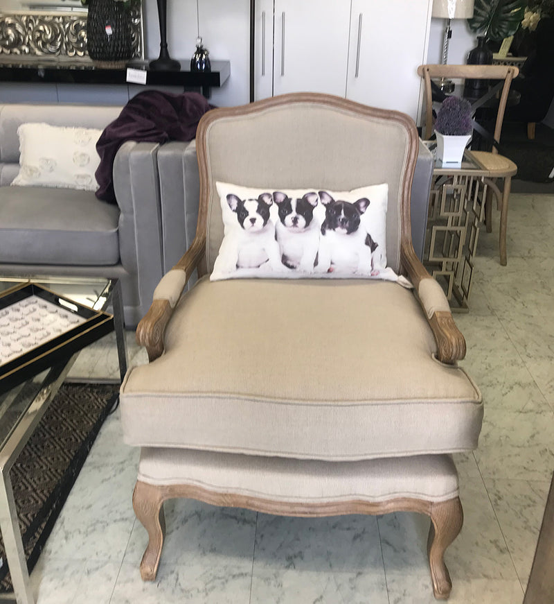 French Country Bastille Natural Linen Salon Armchair