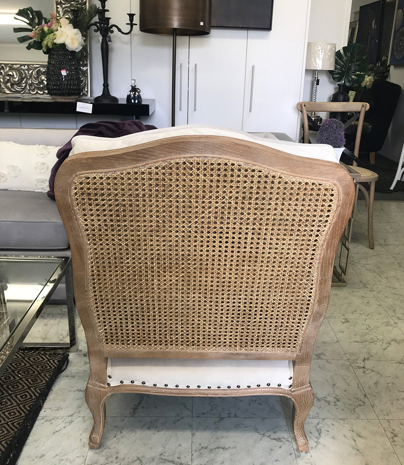 Sasha French Style Oak Bergere Arm Chair Latte