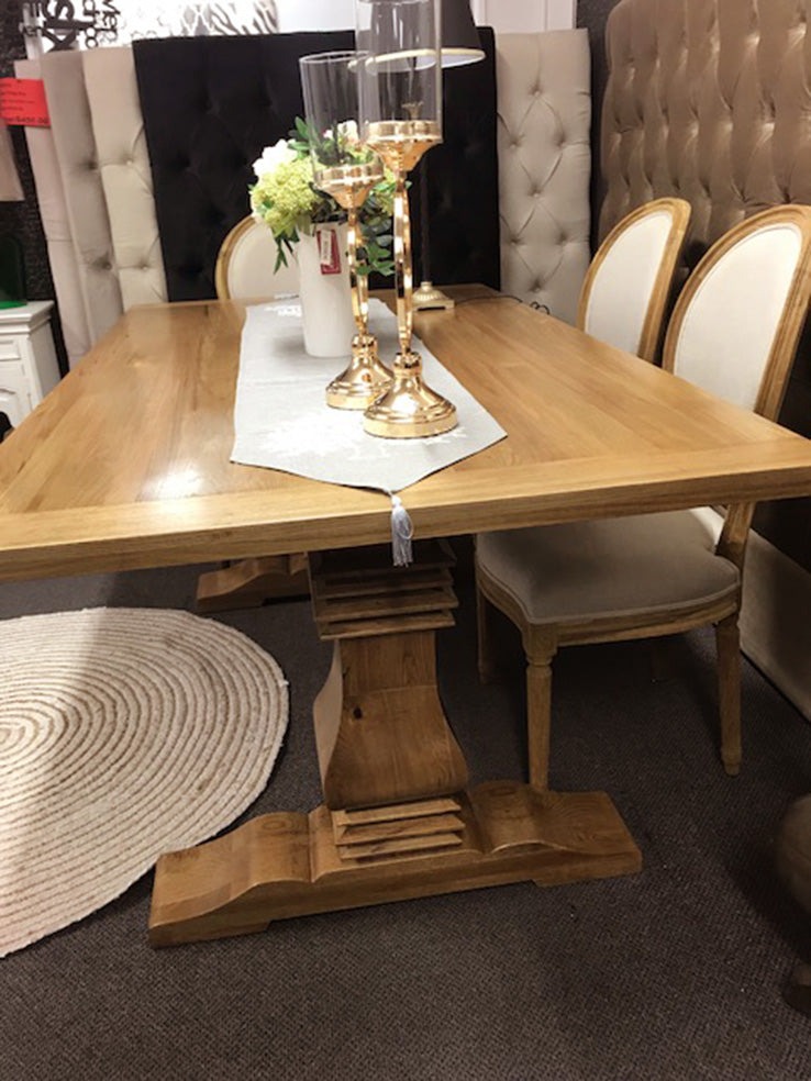 1.8m Oak Wood Trestle Dining Table