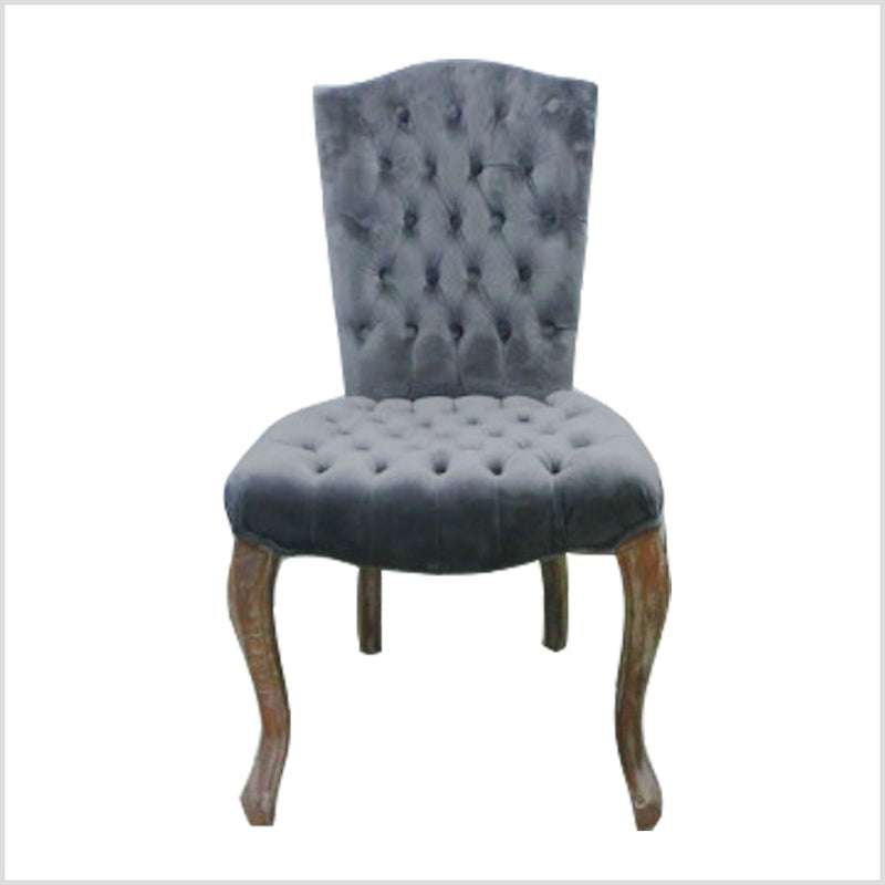 FRENCH VICTORIAN TUFTED CAMELBACK SIDE CHAIR