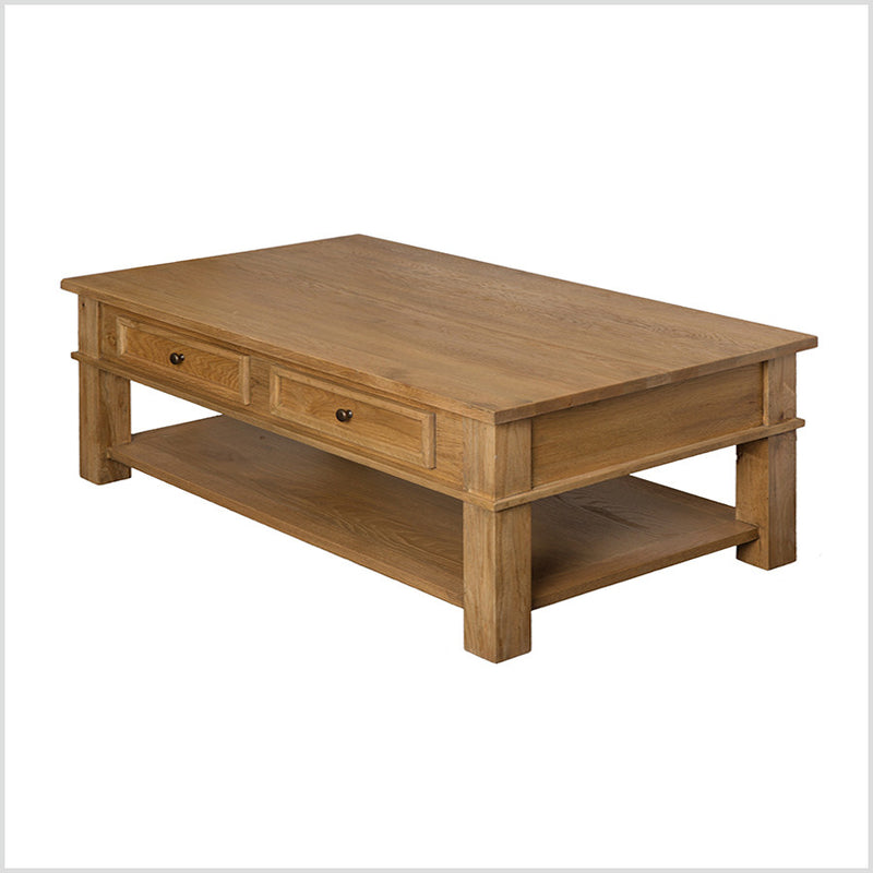 French Provincial Oak Coffee Table 4 Drawers