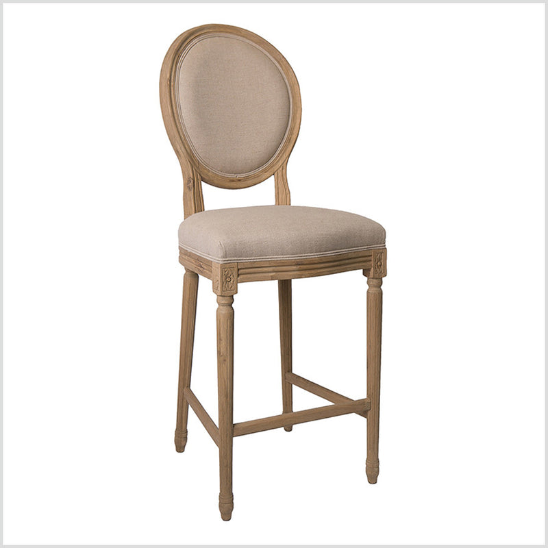 French Country Medallion Back Bar Light Linen Bar Stool