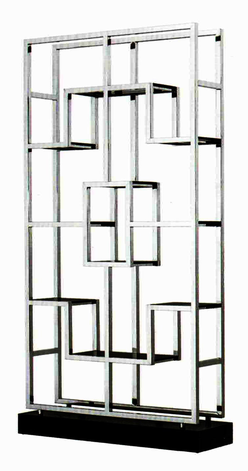 Modern Classic Clear Glass Stainless Steel Display Shelf