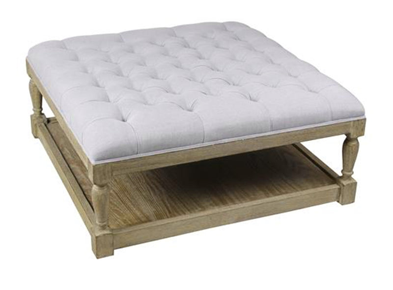 Square Tufted Linen Natural Oak Coffee Table Ottoman