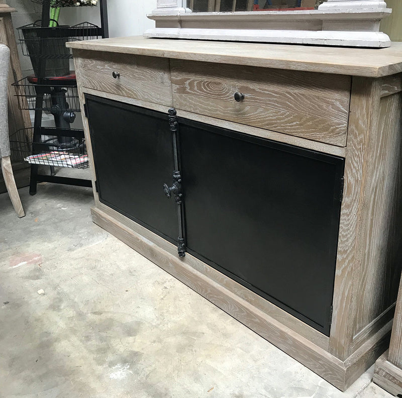 Oak French Provincial Buffet Cabinet