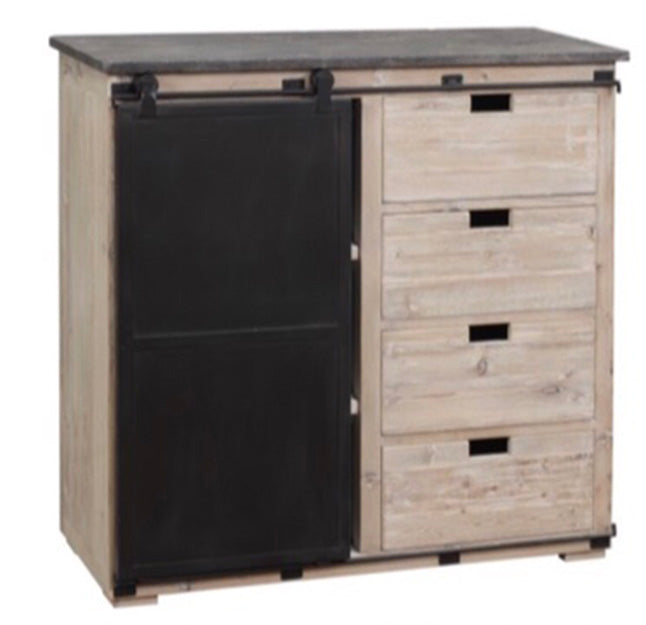 French Provincial Buffet Cabinet Marble Top